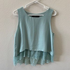 Zara pastel blue sleeveless top with lace accent
